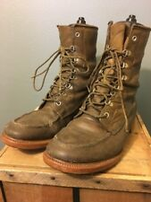 Vtg 50s 60s Dunham Brown Leather Work Hunting Boots Mens 81/2 8.5 Moc Toe Canada