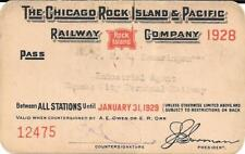 1928 CRI and P RR Pass for Kansas City Terminal Railway bet all stations