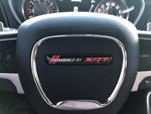 Powered by SRT Challenger/Charger Steering Wheel Badge (Red)
