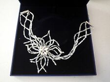 Swarovski Wedding Necklace Choker Braided Flower with Beads MSRP $300