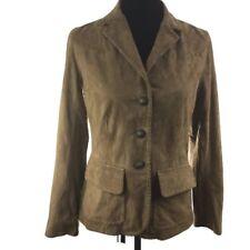 Ralph Lauren Women Jacket Tan Genuine Suede Leather Western 3 Button Size 4 New
