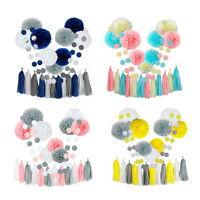 23Pcs Tissue Paper Flowers Pom Poms Party Girl Decorations Tassel Garland for We