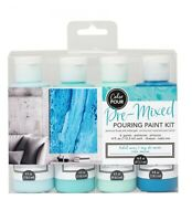 COLOR POUR - PRE MIXED STARTER KIT (4pc) - Tidal Wave Canvas Painting Drip Paint