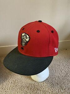 VTG New Era Lansing Lugnuts Minor League Baseball Hat 7 1/4 Excellent Red USA
