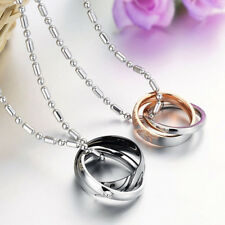 2x Titanium Steel His and Hers Double Rings Matching Love Couple Necklaces Good