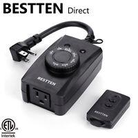 BESTTEN 80FT Outdoor Remote Control Light Sensor Timer Outlet Weatherpfoof ETL