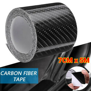 7CMX5M Carbon Fiber Car Stickers Door Sill Scuff Anti Scratch Tape Protection