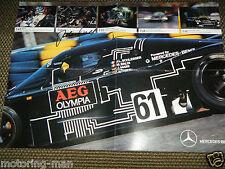 Sauber mercedes groupe c jochen mass signé dédicacé affiche 1988 poster