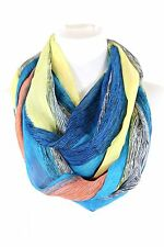 B28 Blue Turquoise Yellow Black Stripe Lightweight Silky Infinity Scarf Boutique