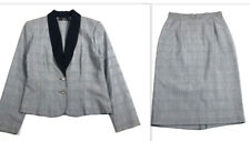 Tofy Women 6 S Vintage Suit 90s Skirt & Blazer Houndstooth Print Black White