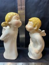 Weiss Handpainted Porcelain Kissing Angels (2) Made In Brazil