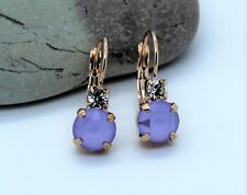 Rose Gold Plated Lilac Leverback Earrings made with Swarovski Crystal Element