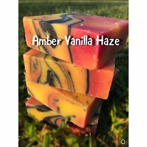 Handmade Soap Bars, Amber Vanilla Haze. Coconut oil Shea Butter Soap Vegan