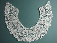 ANTIQUE FINE BATTENBURG TAPE AND NEEDLE LACE FLORAL COLLAR MINOR FLAWS CUTTER