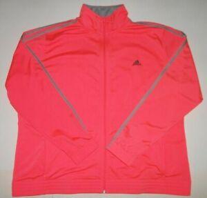 Womens Adidas Pink Polyester Full Zip Mock Track Jacket Size 3XL 3X