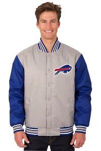 NFL Buffalo Bills  Poly Twill Jacket  Charcoal Royal Patch Logo JH Design