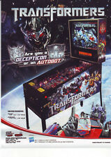 TRANSFORMERS By STERN 2011 ORIGINAL NOS PINBALL MACHINE SALES FLYER BROCHURE