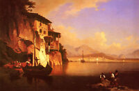 Stunning Oil painting Franz Richard Unterb Motio Du Lac You Garda dusk landscape