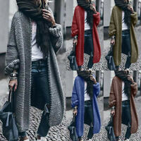 Women's  Long Sleeve Pure Color Loose Long Sweater Cardigan Hooded Outwear Lot