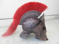 300 LEONIDAS ANTIQUE HELMET IN IRON COVERED WITH  LEATHER RED PLUME