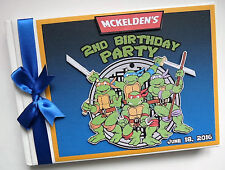 PERSONALISED MUTANT NINJA TURTLES  BOY/GIRL FIRST/1ST BIRTHDAY GUEST BOOK