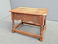 Antique French Country William & Mary Wood Bench w Storage Space by Cochran