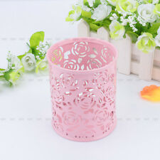 Hollow Rose Flower Brush Storage Pen Pencil Pot Holder Container Desk Organizer