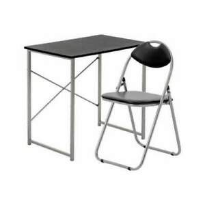 Wooden Desk +folding chair Space Saving Up Black Table Home Office Fold Away pc