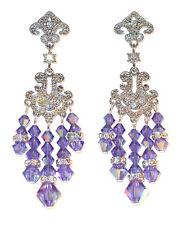 TANZANITE Purple Crystal Chandelier Earrings Swarovski Elements Silver