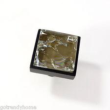 Brown Crackle Crystal Glass Cabinet Black Metal Knob Drawer Square Hardware Door