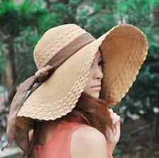 US Wide Floppy Brim Cap Big with Beach Straw Large  for Sun Women Bow Hat Summer
