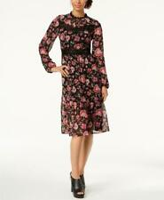 Nine West Women's Floral Mock Neck Lace Trim Chiffon Midi Dress Size 12