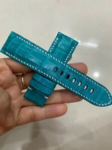 24/22mm GENUIN Blue  ALLIGATOR CROCODILE  LEATHER WATCH BAND STRAP FOR PAM