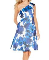 Adrianna Papell Womens Dress Blue Size 0 A-Line Fit & Flare Floral $229- 053