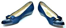 Salvatore Ferragamo Wedge Pump Shoes 6.5 4A Navy Suede/Black Patent Captoe