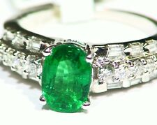 2.07CT 14K Gold Natural Emerald White Cut Diamond Vintage Engagement Ring Retro