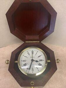 Bulova Maritime Navigator Quartz Clock Made In Germany Wooden Box