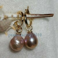 AAA 13-12mm South Sea Baroque Pearl Earrings 14K YELLOW GOLD
