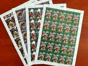 Papua New Guinea 2008 Headdresses SET MNH 4 sheets x 25 stamps (Pap 201a