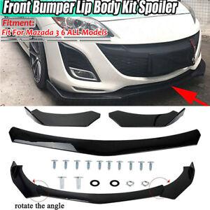 Front Bumper Lip Spoiler Splitters Glossy Black For Mazda 2 3 5 6 CX-3 CX5 CX-7
