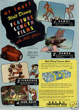 1947 PAPER AD 2 Sided Walt Disnay Bami Bumbo Movies Snow White Pinoccnio Film