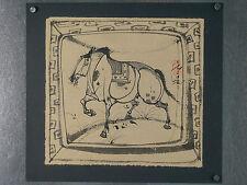 MONGOLIE ! dessin original  signé sur papier de riz, CHEVAL