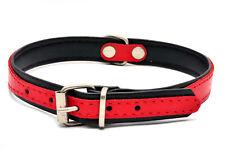 Hecho a Mano Cuero Perro Cachorro Collar Doble Color Rojo Negro Rosa Azul Aqua