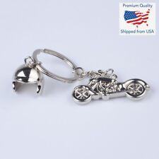 Chrome Metal Silver Keychain Alloy Pendant Motorcycle & Helmet Key Ring Gift