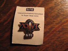 Super Bowl XXVI Pin - Vintage 1992 GTE General Telephone Electric Football NFL