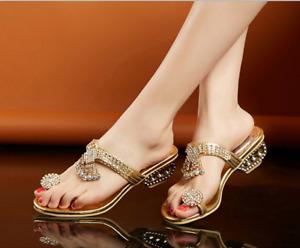 Women Chunky Mid Low Heel Rhinestone Ring Toe Slipper Flip Flops Sandals Fashion