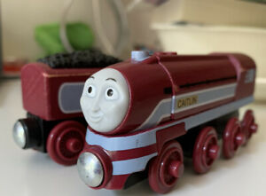 """Thomas & Friends Wooden Railway """"Caitlin"""" train and tender, Used As-Is Condition"""