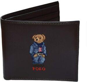 Polo Ralph Lauren (Polo Bear) Jean Jacket Bifold Wallet Brown Leather New NIB⭐