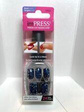 Impress Gel Manicure Press on Nails Short Dark blue glitter