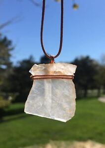 Hand Mined-Handcrafted Jewelry.Quartz Pendant/Necklace.Copper Wrap/Leather Cord